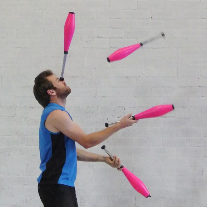 Adult circus juggling classes are suitable for all levels of juggler, from beginner to advanced