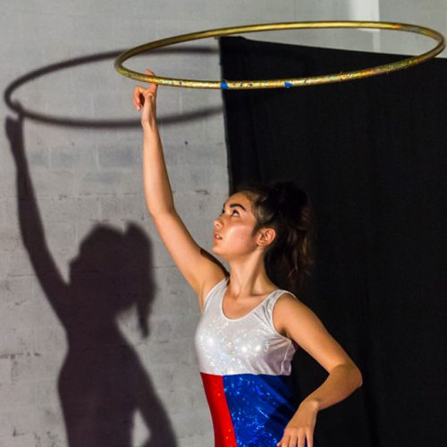 Performing hoop with Circus Akimbo