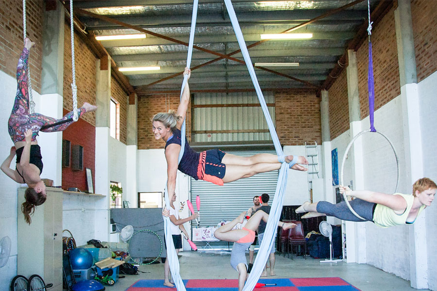 Learn trapeze, aerial silks and lyra all in the one adult circus class