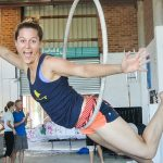 aerial ring or lyra is a great aerial circus class for adults to start with